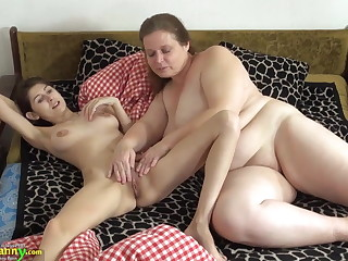 OldNanny Old and young woman trample and toying