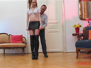 Floozie in a miniskirt with pigtails Chelsy Sun missionary fucked