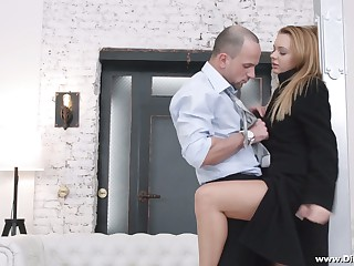 Yummy Russian babe Emily Thorne gives a blowjob together with gets her anus gaped for cash