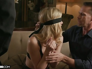 Blind bent over blonde in sexy lingerie Mona Wales is fucked by two horny dudes
