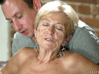 Filthy granny Malya has an endanger with young dude living nextdoor