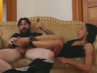 Addicted to sex black chick Alexis Tae gets her muff nailed and fully satisfied