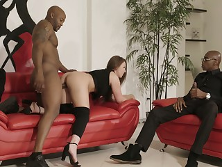 Two huge black dicks penetrate anus and pussy be required of bootyful pallid chick Maddy O'reilly