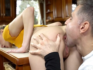Odd jogger Ivi Rein enjoys sensual holes licking by her stud