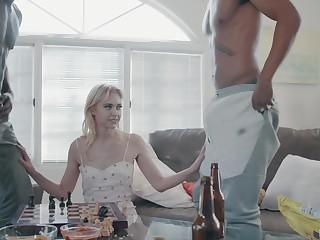 Two big black dudes bang slender blondie with small jugs Chloe Cherry