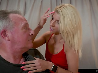 Older guy got lucky coupled with banged attractive blonde Missy Luv