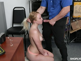 Security guy punishes sexy blond skirt Dixie Lynn be worthwhile for shoplifting