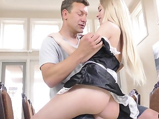 Thersitical babe in jail-bait uniform Emma Starletto is fucked by betrothed man