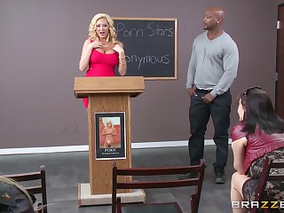 Interracial office sex involving big white woman Summer Brielle plus a BBC