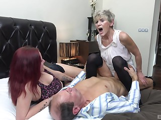 Auntie shares dick thither younger nice in a home trio