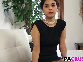 Beauty ill-lighted in clouded dress suck