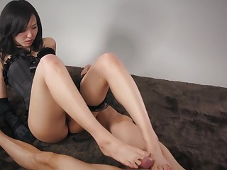 Nutriment brunette steppe corset is giving a footjob to her lover and listening to his moans