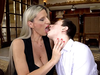 Cougar stepmom Conchita makes virgin stepson a alms-man