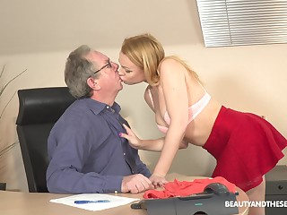 Young blonde Rebecca Black is having sex fun with senior in his office