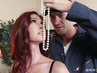 Redhead mature Tiffany Mynx almost nude stockings fucked almost tight bum