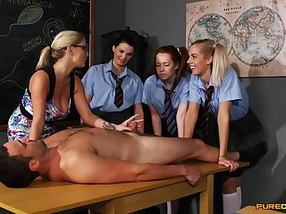 Young schoolgirls are keen all over learn new porn skills