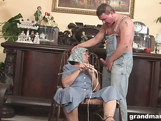 Disgusting big granny gives a blowjob and rimjob more one strange man