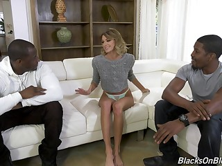 Intense porn be fitting of a skinny spliced with two black males